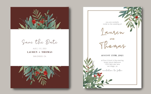 Wedding invitation card template with a bouquet of watercolor leaves