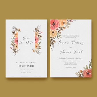 Wedding invitation card template with a frame of roses and watercolor leaves