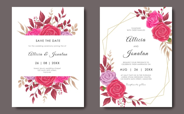 Wedding invitation card template with geometric frame and rose flower template