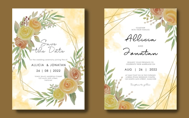 Wedding invitation card template with geometric frame and watercolor flower bouquet