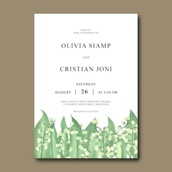 Wedding invitation card template with lily of the valley
