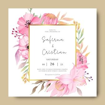 ロマンチックな水彩花と結婚式の招待カードのテンプレート