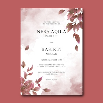 Wedding invitation card template with watercolor dry leaves decoration