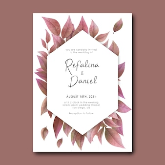 Wedding invitation card template with watercolor dry leaves