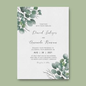 Wedding invitation card template with watercolor eucalyptus leaf decoration