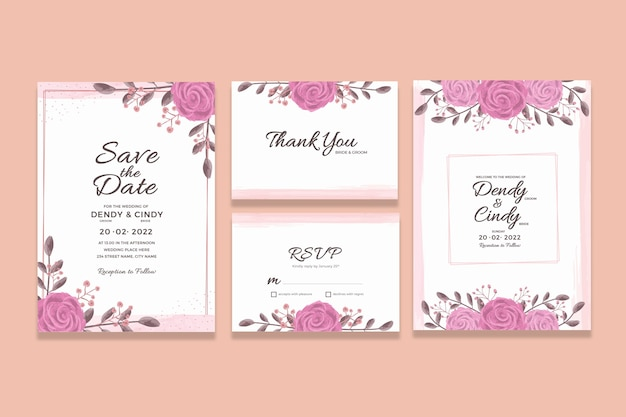 Wedding invitation card template with watercolor floral frame decorations