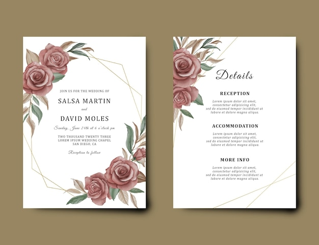 水彩花の花束の装飾と結婚式の招待カードのテンプレート