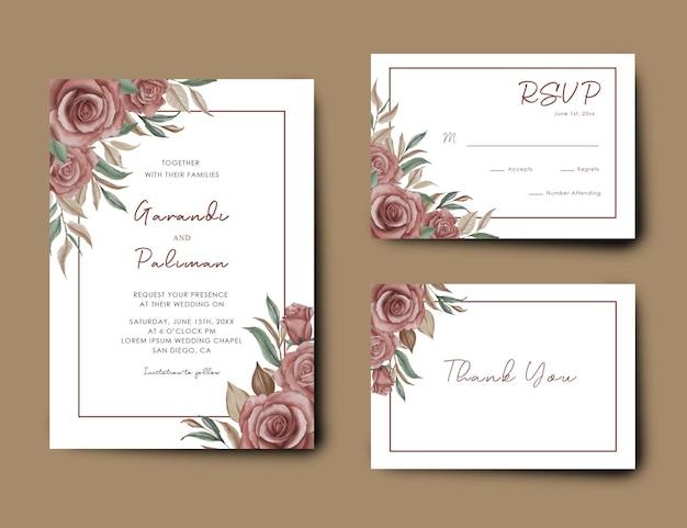 水彩花の花束と結婚式の招待カードのテンプレート