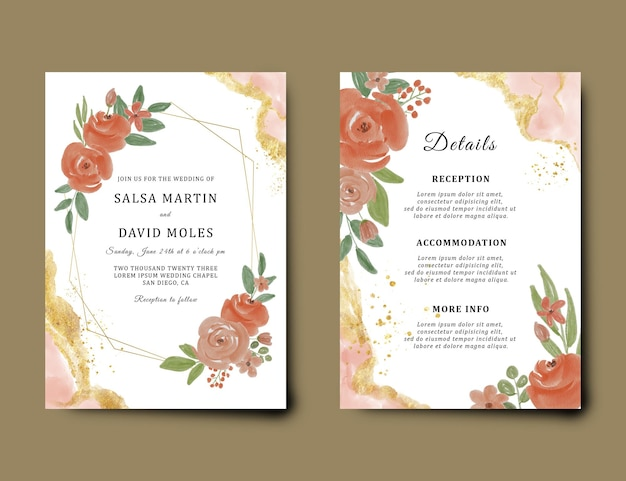Wedding invitation card template with watercolor flower decoration and gold brush