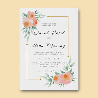 Wedding invitation card template with watercolor flower decoration and gold frame