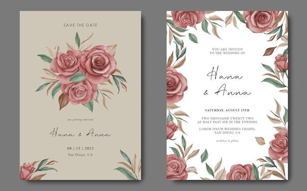 水彩花と結婚式の招待カードのテンプレート