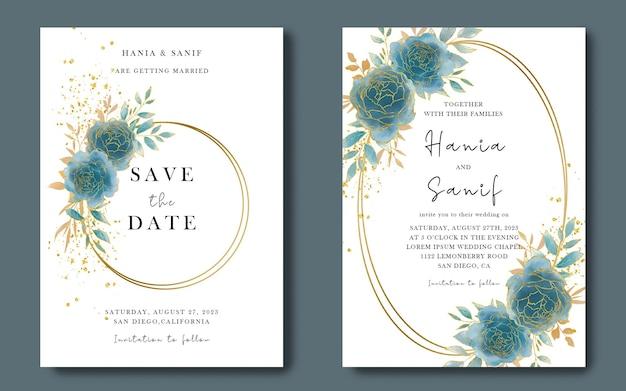 水彩花と結婚式の招待カードテンプレート