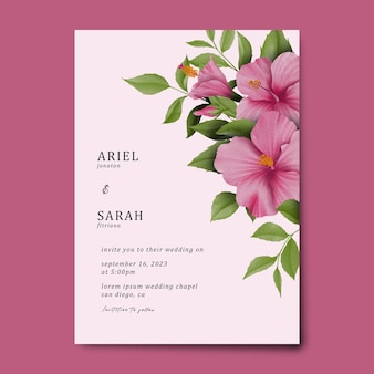 Wedding invitation card template with a watercolor hibiscus pink bouquet