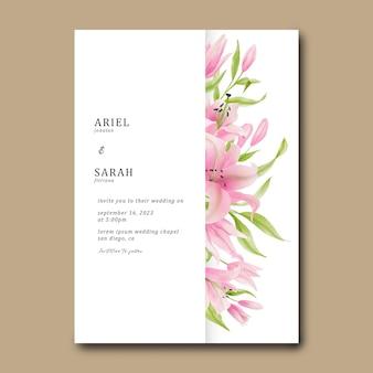 水彩ピンクのユリの花フレームと結婚式の招待カードテンプレート