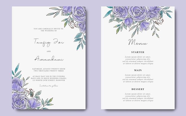 수채화 보라색 꽃 배경으로 결혼식 초대 카드 템플릿