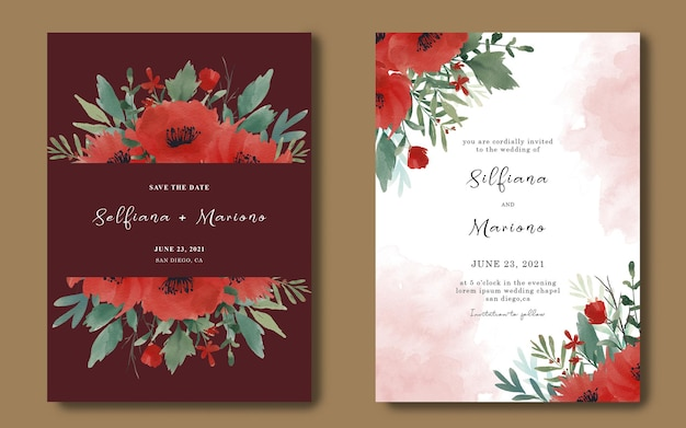 Wedding invitation card template with watercolor red flower bouquet