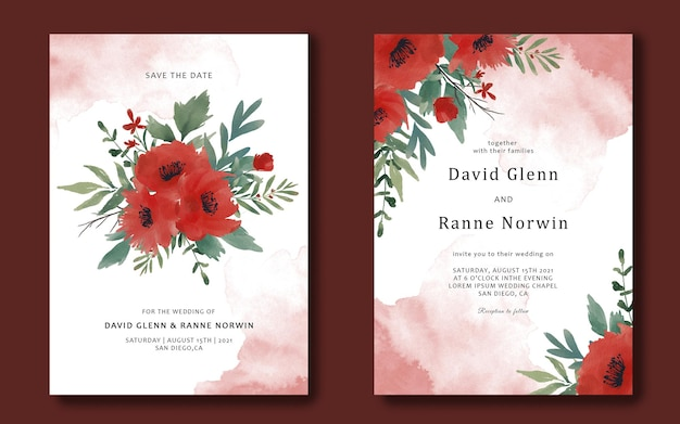 Wedding invitation card template with watercolor red flowers