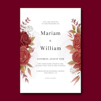 Wedding invitation card template with watercolor red roses