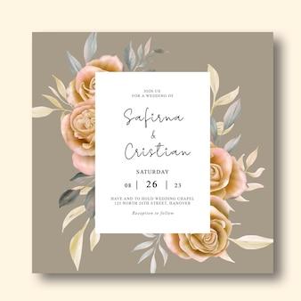 Шаблон свадебного приглашения с акварельными розами