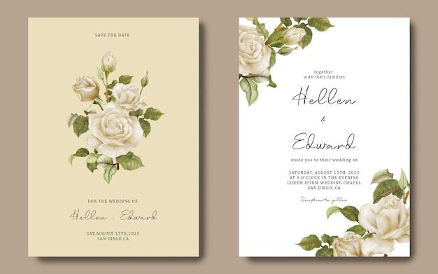 白いバラの結婚式の招待カードテンプレート