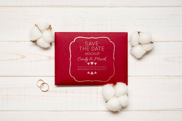 Wedding invitation card with cotton