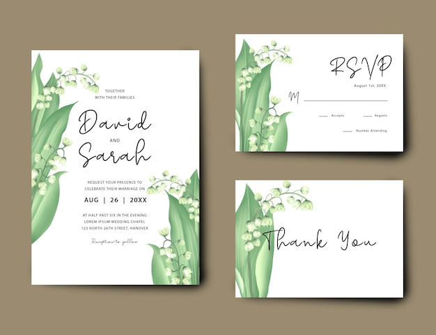 Wedding invitation card with lily of the valley flower design set