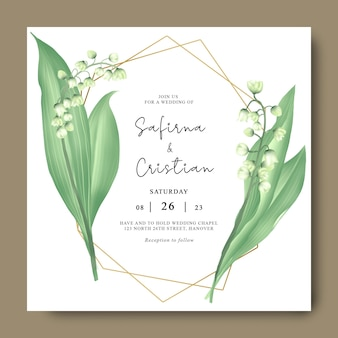 Wedding invitation card with lily of the valley