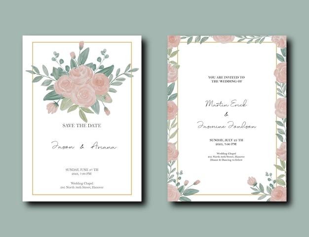 Свадебная пригласительная открытка с розовым цветком и зелеными листьями акварельным украшением