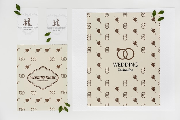 Wedding invitation cards with flat lay