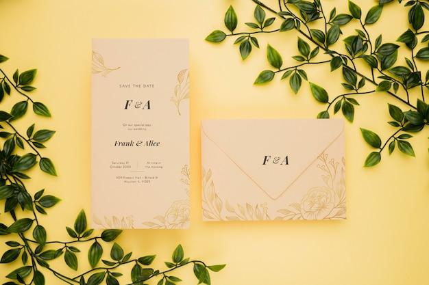 Mock-up concetto di invito di nozze