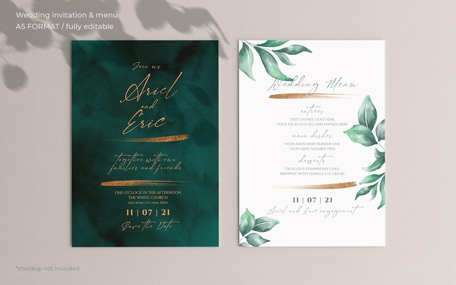 Wedding invitation and menu template with beautiful leaves