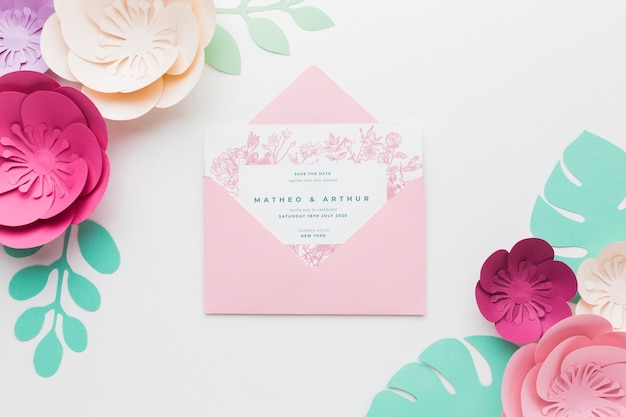 Wedding invitation mock-up with paper flowers
