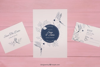 Wedding invitation mockup on wooden pink background