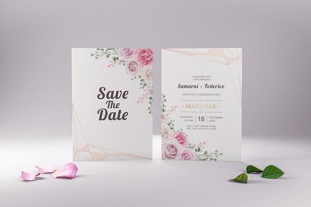 結婚式の招待状のモックアップステーショナリーカードのミニマリスト