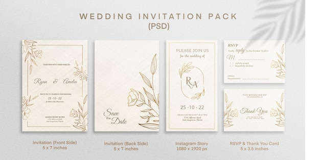 Wedding invitation pack invitation save the date instagram story rsvp thank you