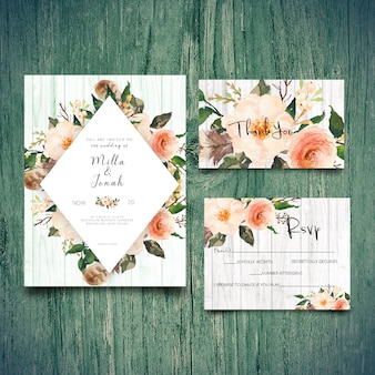 Wedding invitation rsvp card  and thank you card