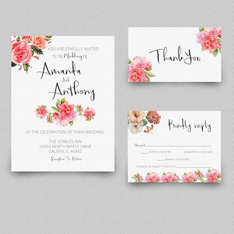 Wedding invitation rsvp card thank you card