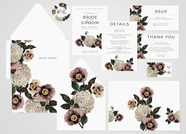 Wedding invitation set with blush toned dahlias and poppies.