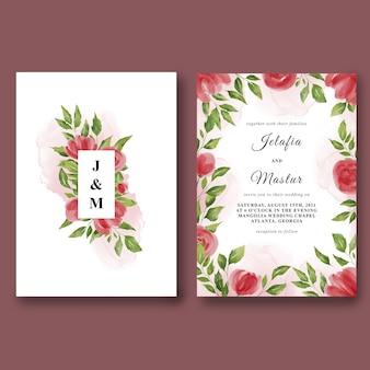 아름 다운 수채화 장미와 설정 결혼식 초대장 서식 파일