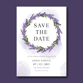 Шаблон свадебного приглашения с букетом акварельных цветов лаванды
