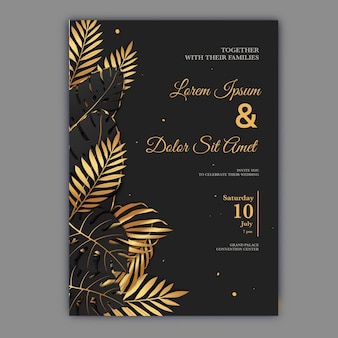 Wedding invitation template with black gold leaves