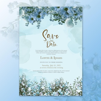 Wedding invitation template with blue flower