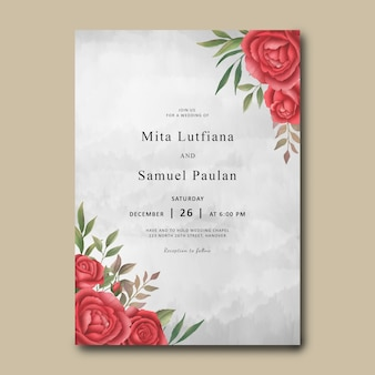Wedding invitation template with a bouquet of watercolor red roses