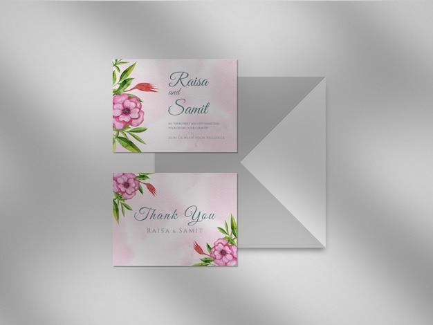 Wedding invitation template with burgundy flowers