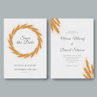 Wedding invitation template with decorative frame watercolor wheat