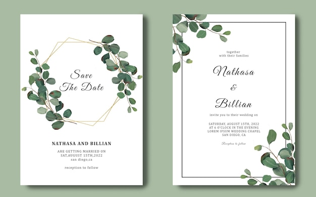 Wedding invitation template with eucalyptus leaf frame