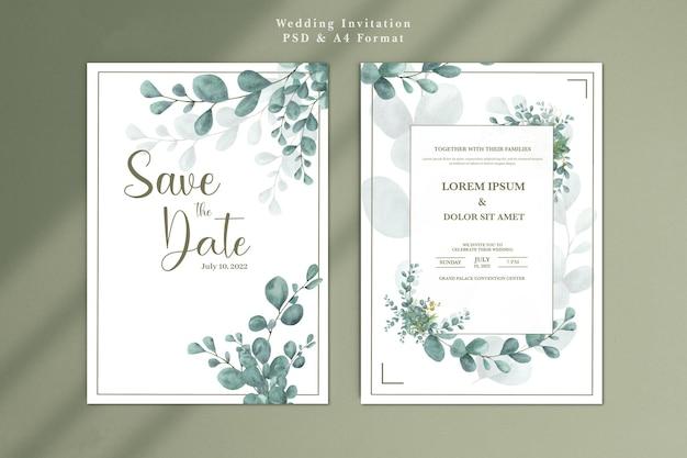 Wedding invitation template with eucalyptus