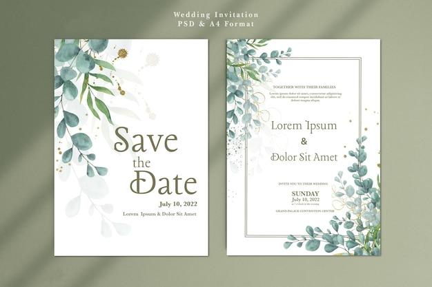 ユーカリと結婚式の招待状のテンプレート