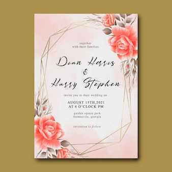 Wedding invitation template with flower bouquet decoration