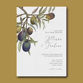 Шаблон свадебного приглашения с оформлением букета цветов